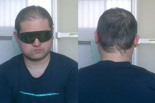五分刈り、洗髪前。